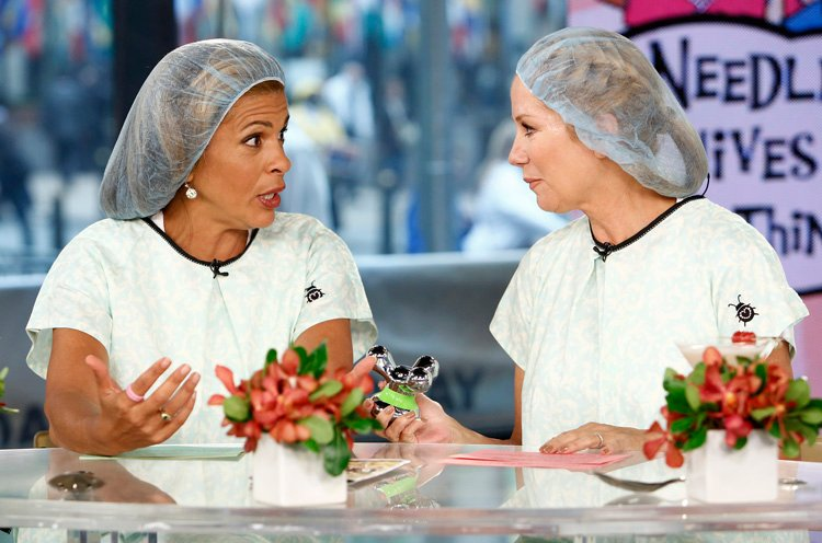 In May 2012, Today show hosts Hoda Kotb and Kathie Lee Gifford wore Annie & Isabel gowns for a segment on plastic surgery. (Today Show Courtesy of NBC)
