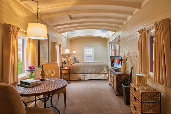 The King Caboose room at the Napa Valley Railway Inn, located in the heart of Yountville (Photo by John Sutton)
