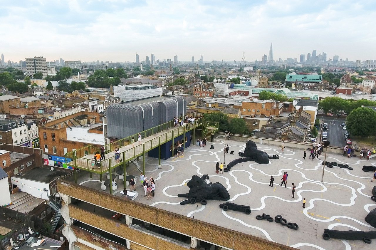 A view of the London skyline from atop a parking garage that was converted into public space with art installations and an observation deck. (Photo by Peter Landers)