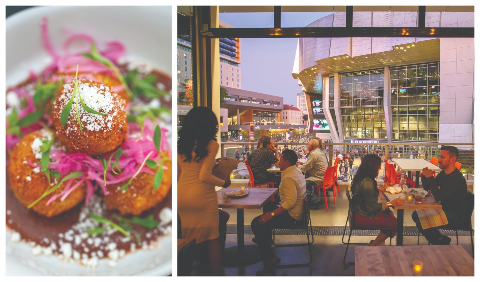 From left: Cochinita pibil croquettes atop a black bean salsa; the indoor-outdoor dining room is a perfect perch from which to take in the DoCo action