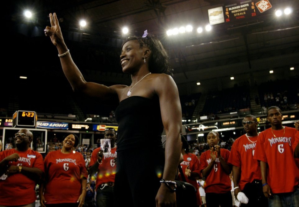 """Mighty Ruthie"" at her jersey retirement ceremony at Arco Arena in August 2005 (Photo by Max Whittaker/AP Photo)"