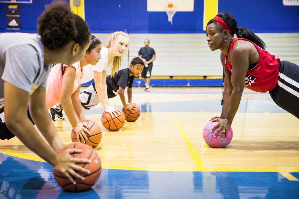 Ruthie Bolton at Grant Union High School with students in her Aim High basketball camp in August (Photo by Max Whittaker)