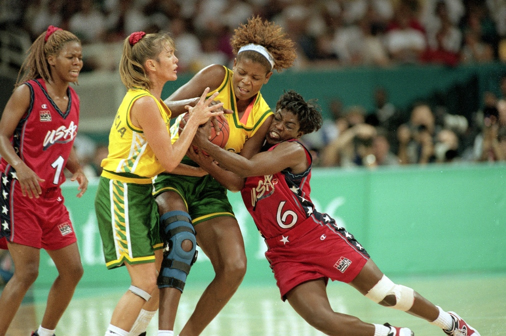 Bolton fights for the ball during the gold medal game at the 1996 Atlanta Olympics. Her go-for-broke playing style helped USA defeat Brazil 111-87. (Photo by Manny Millan/Sports Illustrated/Getty Images)