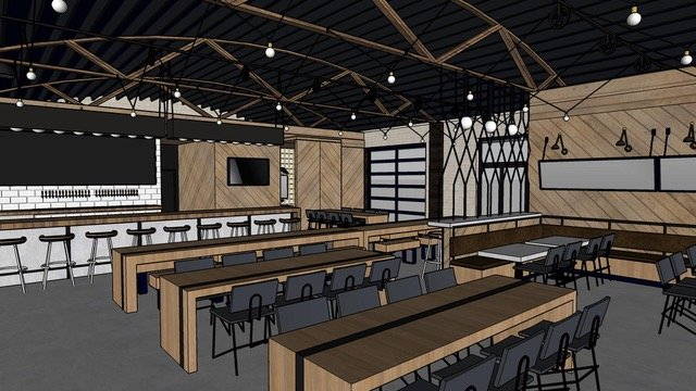 A rendering of the interior of SacYard, a planned tap house in East Sacramento (Photo courtesy of SacYard)