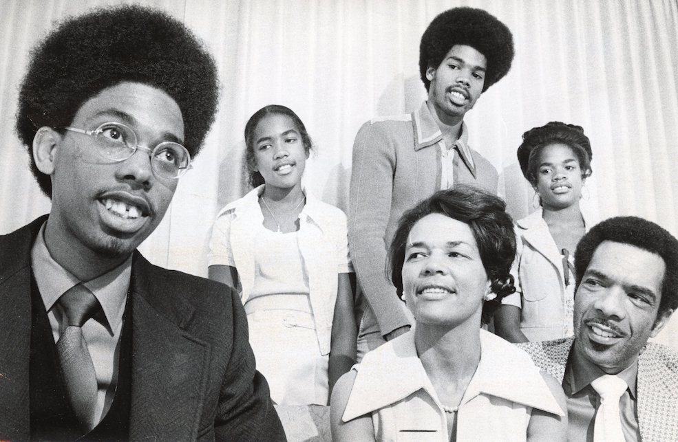 A 1973 family portrait taken by The Sacramento Bee to accompany the paper's story commemorating Cornel's graduation from Harvard at age 20 after just three years (Photo by Owen Brewer of the Sacramento Bee, Courtesy of the Center for Sacramento History)