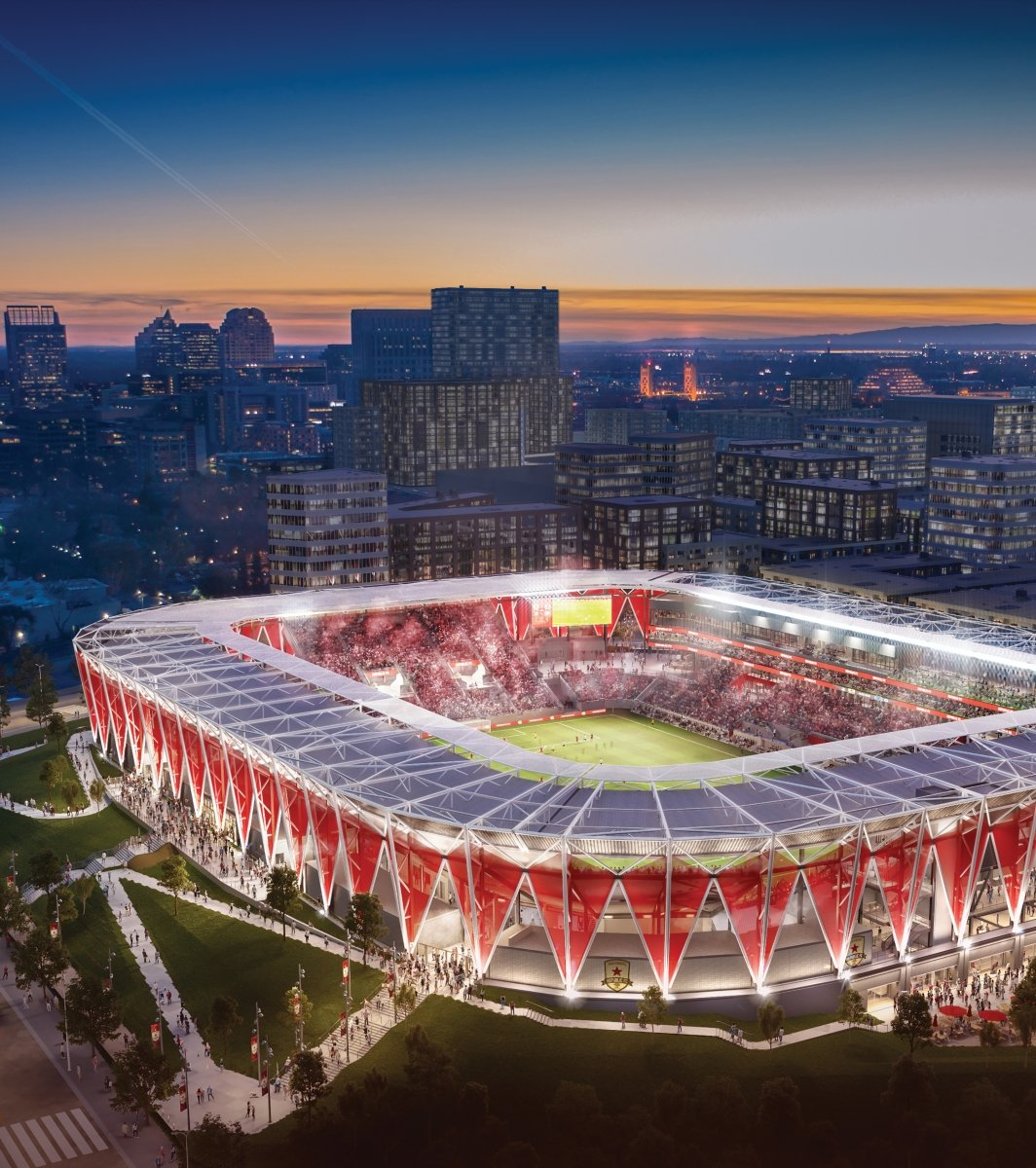The soccer arena will boast an indoor-outdoor concourse that will provide visitors with both views of the field and the downtown skyline. (Rendering by HNTB)