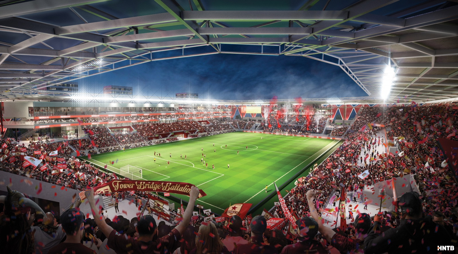 "The new stadium will be designed to create a ""wall of fans,"" with features like a steep rake, a ""safe standing"" section and a 360-degree roof canopy. (Rendering by HNTB)"