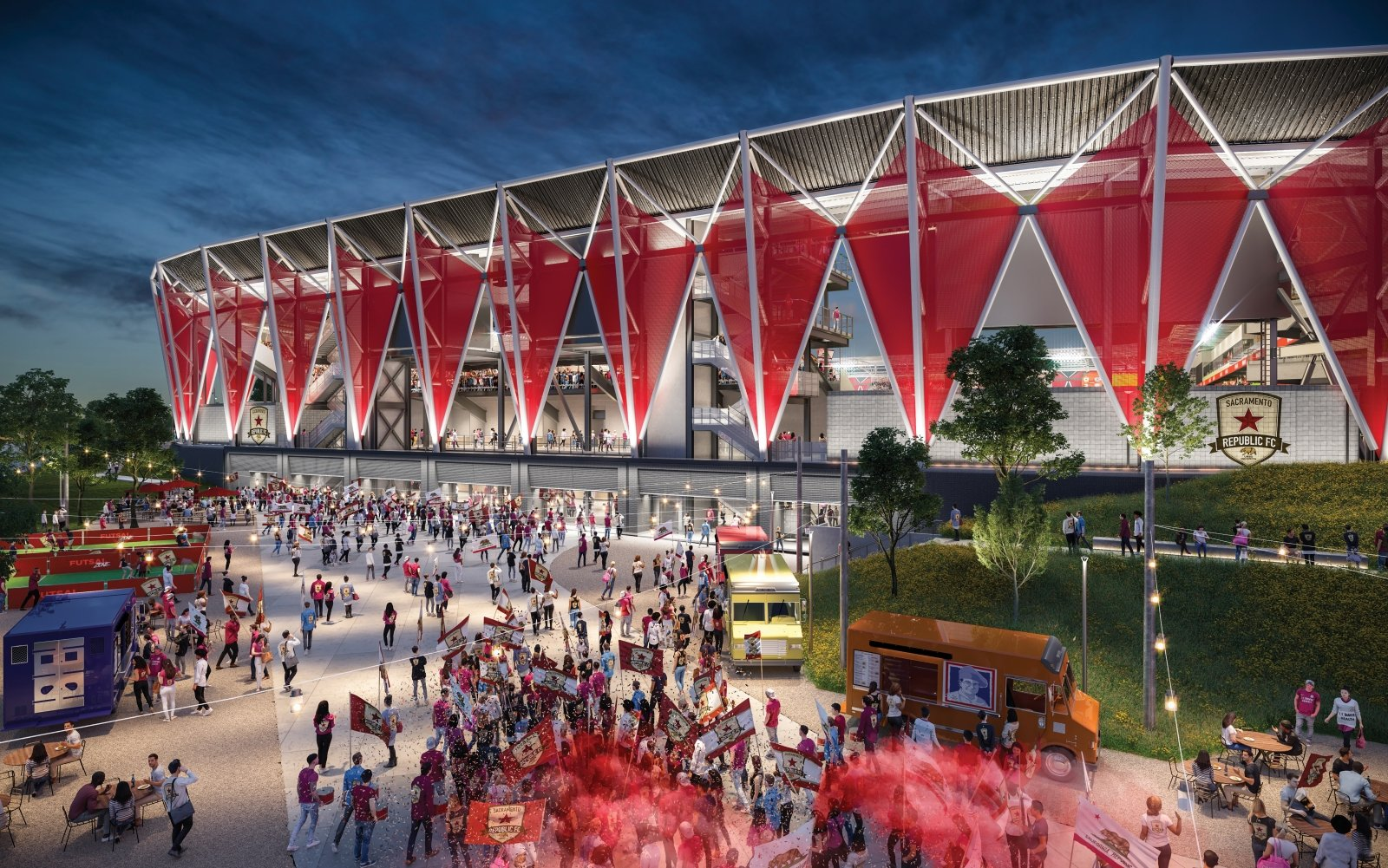 "The crimson ""gems"" surrounding the stadium façade are a nod to the red star on the team's crest, whose own color matches that of the star on the California state flag. (Rendering by HNTB)"