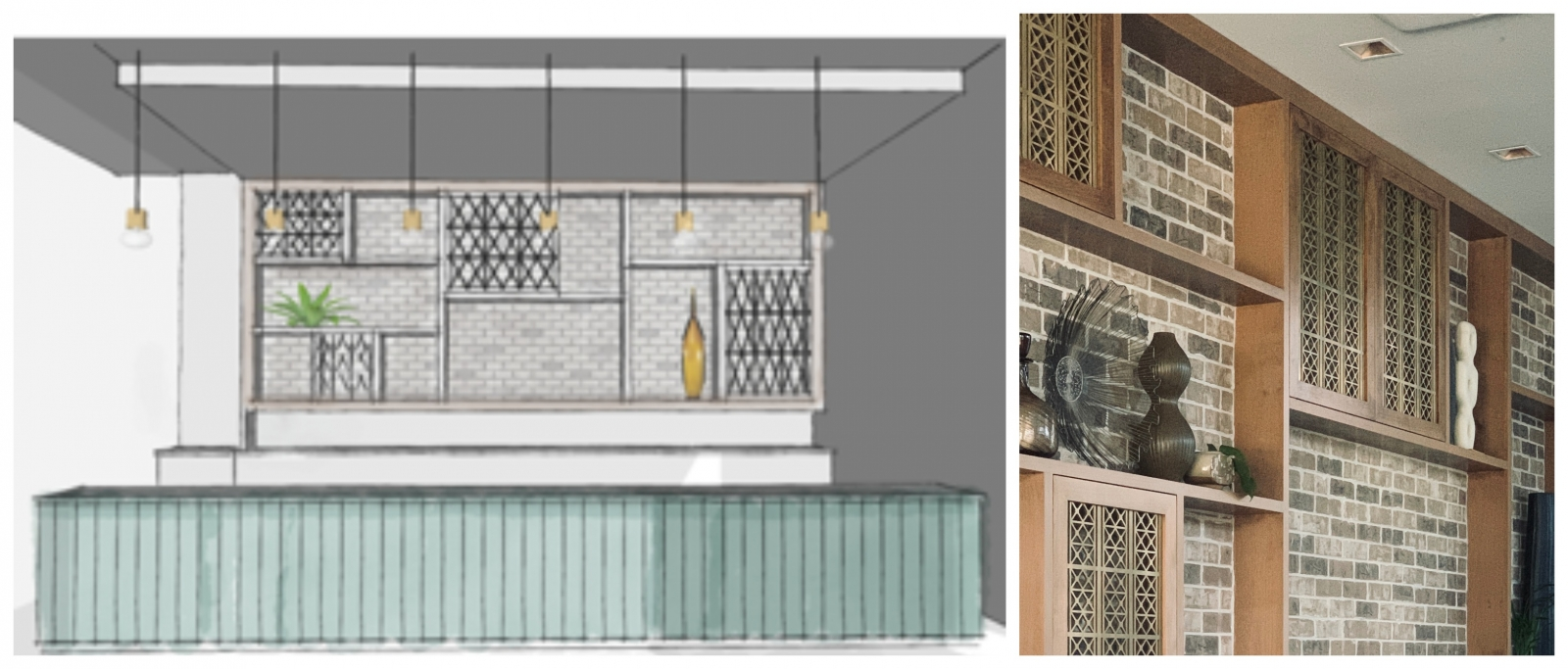 The back bar features custom built-in shelves with cabinet doors boasting a pattern found in Vietnamese architecture and is meant to draw the eye of passersby. (Images courtesy of Aura Design Company)