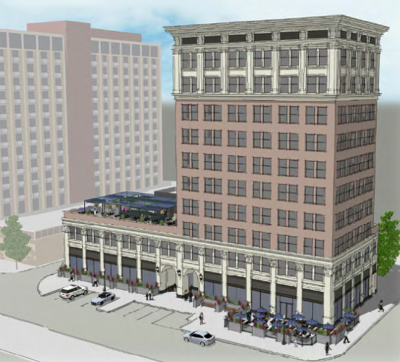 The California Fruit Building, built in 1914, will soon reopen as The Exchange Hotel. (Rendering courtesy of MTA Hospitality)