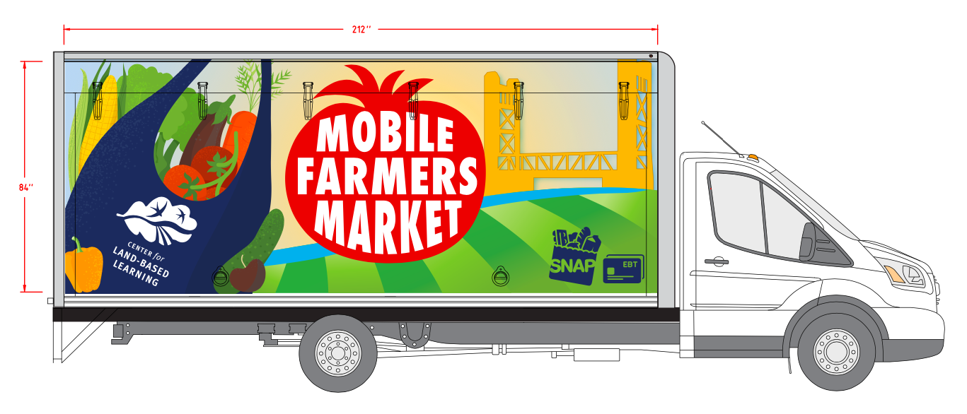 A custom wrap depicts the Tower Bridge and a branded Center for Land-Based Learning shopping bag brimming with fruits and vegetables. (Rendering courtesy of Center for Land-Based Learning)