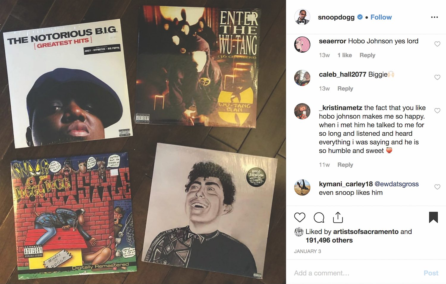 In good company: Snoop Dogg's Instagram post in January spotlighted a Hobo Johnson album (bottom right) along with one of his own and those by the Wu-Tang Clan and The Notorious B.I.G.