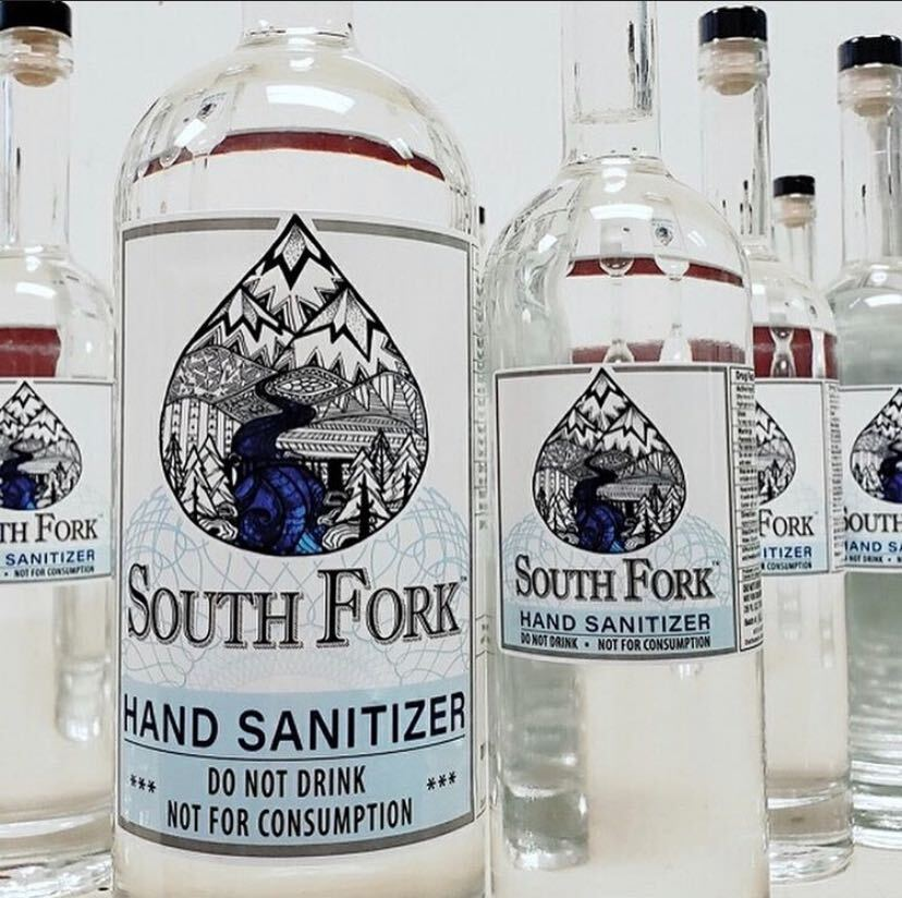 This Grass Valley distillery is bottling its hand sanitizer in its vodka bottles. (Photo courtesy of South Fork Vodka)