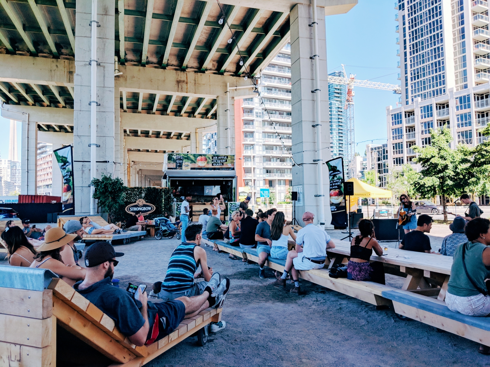During the summer, The Bentway in Toronto hosts a beer garden, live music, a skatepark, yoga classes and more. (Photo courtesy of Nicole Pacampara)