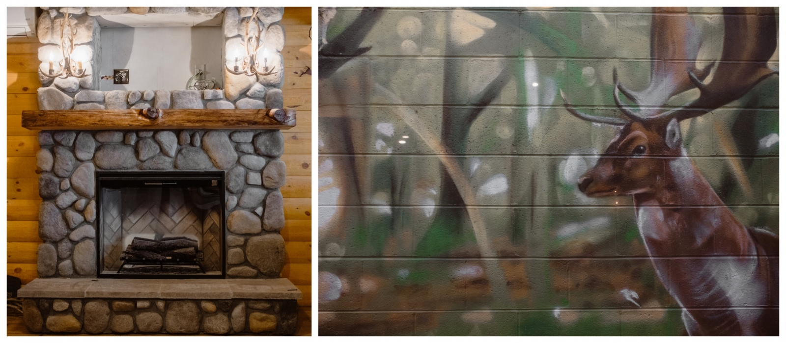 From left: The indoor scenery includes a hand-built river rock fireplace, and a view of a forest-scene outdoor mural by local artist John Horton.