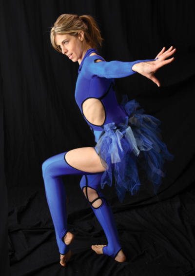 "Honaker strikes a birdlike pose for AirAligned's 2008 production of ""Enora and the Black Crane."" (Photo by Alicia Berardi)"