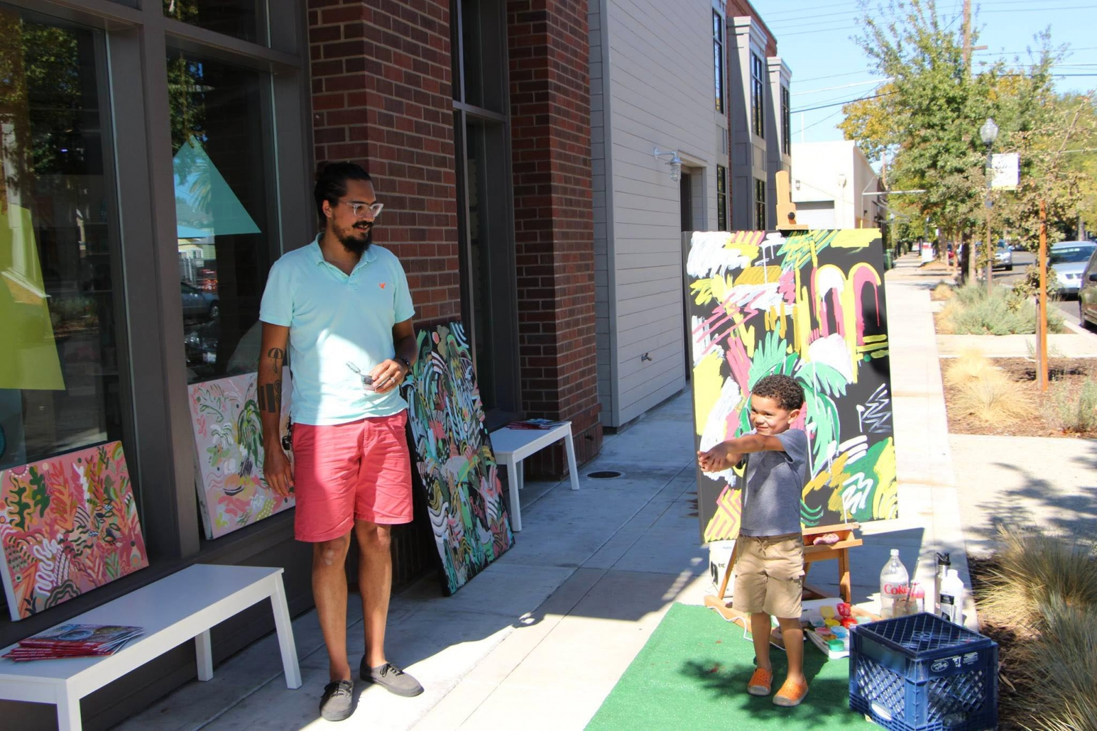 Tyson Anthony Roberts in front of Display: California in Oak Park at last year's Open Studio Tour