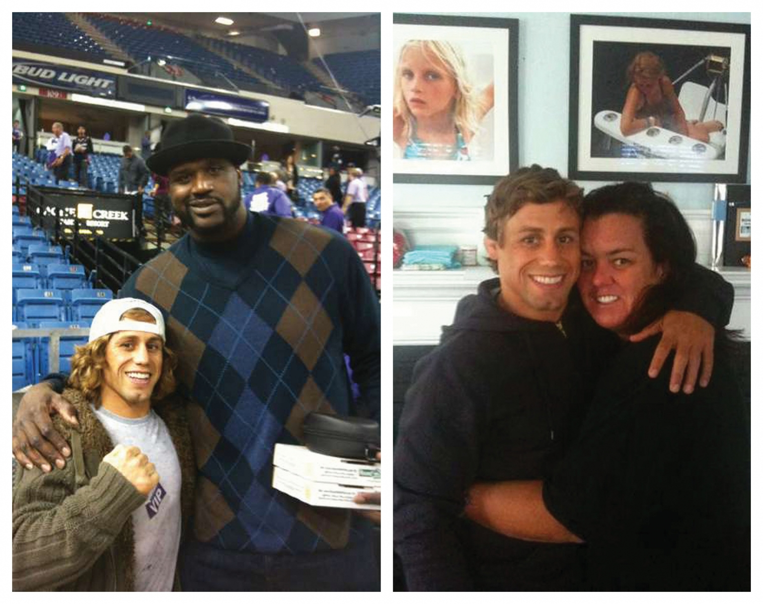 "Faber tweeted this picture (left) in 2009 at Arco Arena: ""Shaq is more than twice my size!""; (right) Rosie O'Donnell attended Faber's March fight in New Jersey after having him on her radio show. (Photos courtesy of Urijah Faber)"