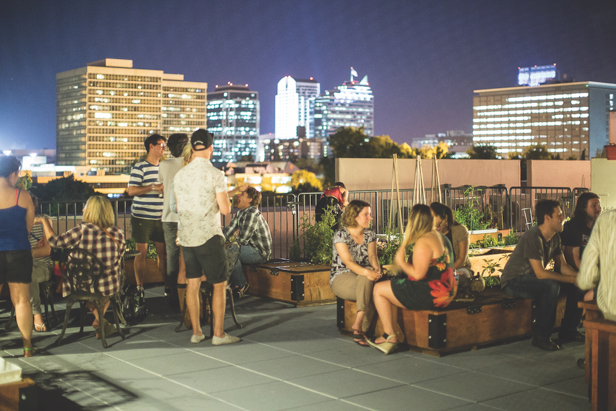 The building's rooftop space offers a picture-perfect backdrop for gatherings and activities like plein air painting. (Photo by Nicholas Wray courtesy of CFY Development)