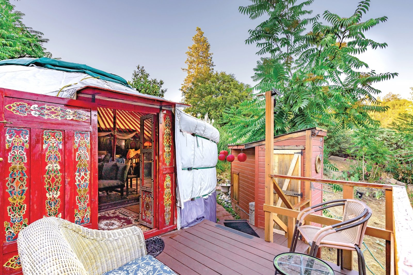 The red-wood-framed Mongolian yurt transports you to the other side of the Pacific Ocean. (Photos by Anna Wick)