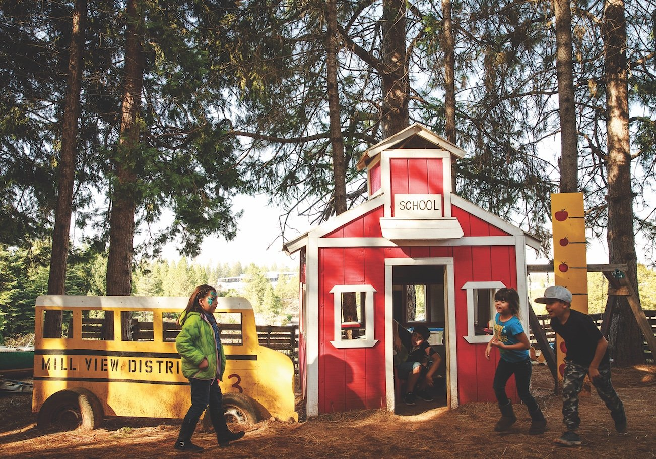 Mill View Ranch's mini schoolhouse rocks. (Photo by Max Whittaker)