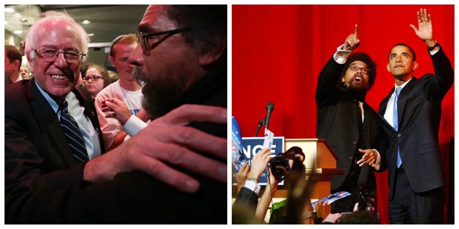 (Left) West with his presidential pick Bernie Sanders in Des Moines, Iowa, in 2015 during the senator's first bid for the White House; (right) with then-presidential candidate Barack Obama at Harlem's Apollo Theater in 2007 (Sanders by Alex Wong/Getty Images. Obama by HRC/Wenn/Newscom).