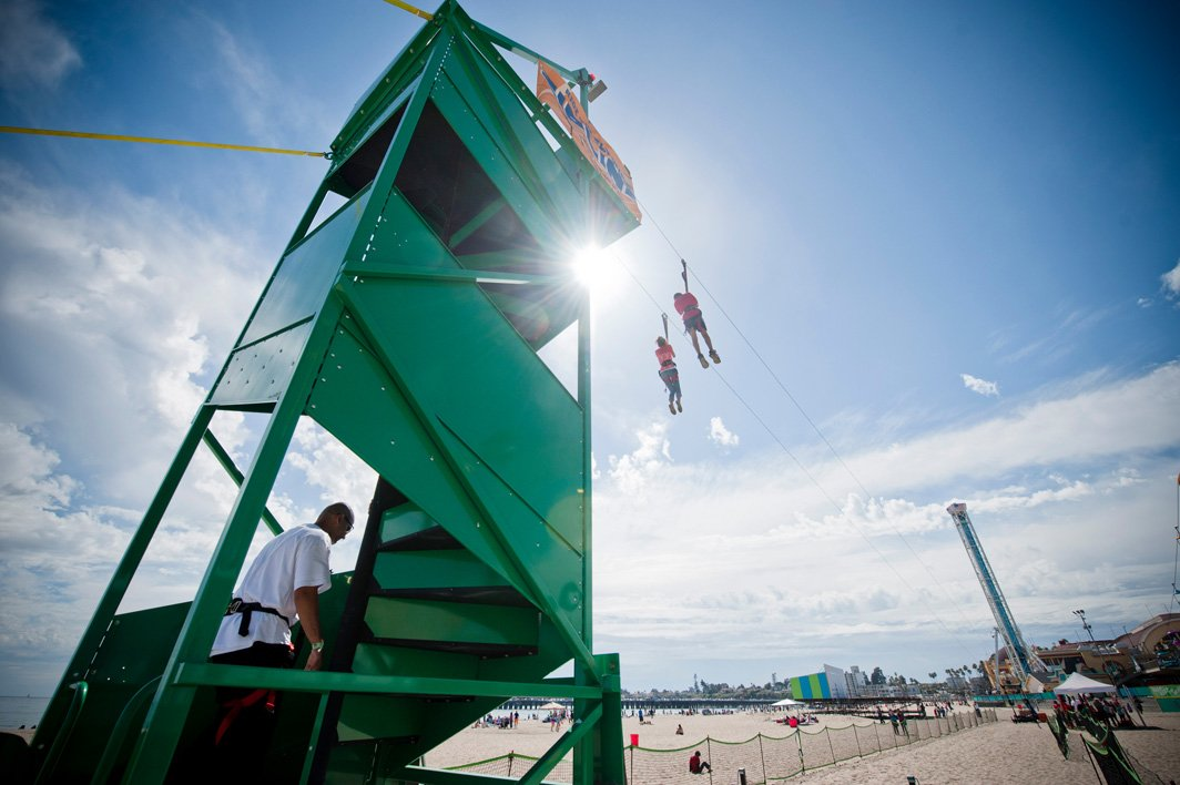 Extreme Engineering's Fly Wire zip line in Santa Cruz sends thrill-seekers soaring over the boardwalk at 20 miles per hour. (Courtesy of Extreme Engineering)