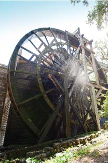 The 36-foot water wheel at Bale Grist Mill