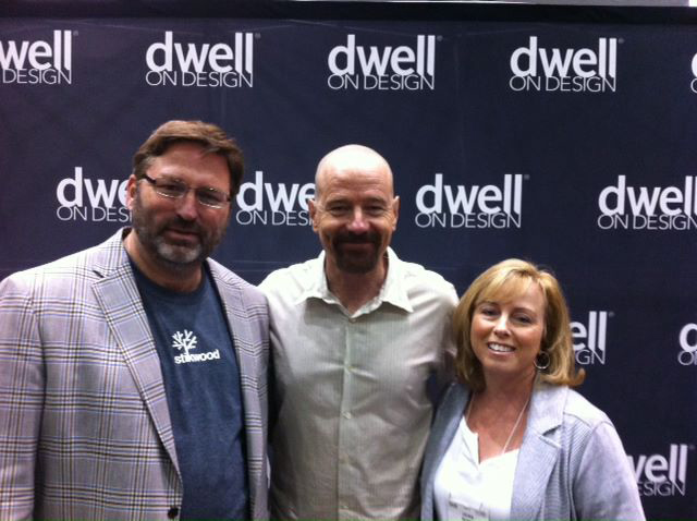 Stikwood's Jerry and Laura McCall flank Breaking Bad star Bryan Cranston at the Dwell on Design expo in June 2012. (Courtesy of Stikwood)