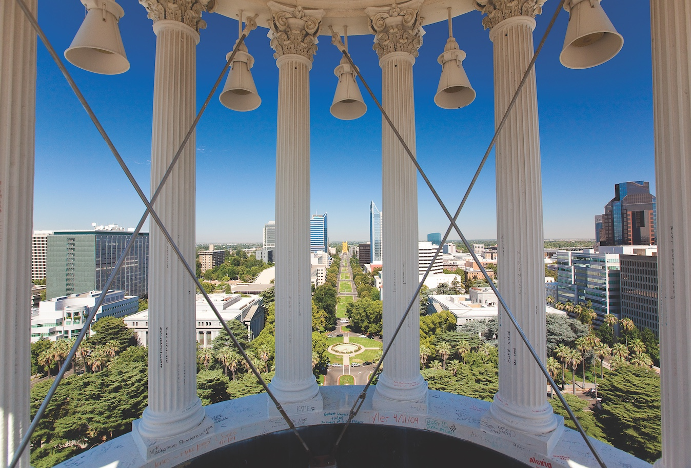 The view from the top of the Capitol dome, closed to the public since World War II. Reopening it, as Colorado and Kansas have done with theirs, would create an instant civic amenity. (Photo by Marc Thomas Kallweit)