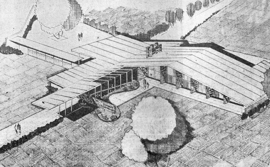 The rendering of the Iva Gard Shepard Garden & Arts Center depicts a butterfly roof (Courtesy of the Center for Sacramento History, Sacramento Bee Collection)