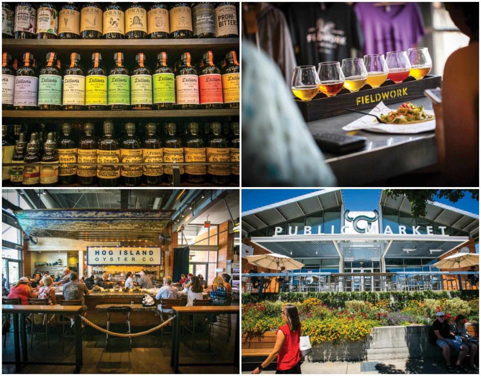 At Oxbow Public Market, you can sample over 100 varieties of bitters at Napa Valley Distillery, try a flight of beer at Fieldwork Brewing Co.'s taproom, go for seafood at Hog Island Oyster Co., and more. (Photos by Jeremy Sykes)