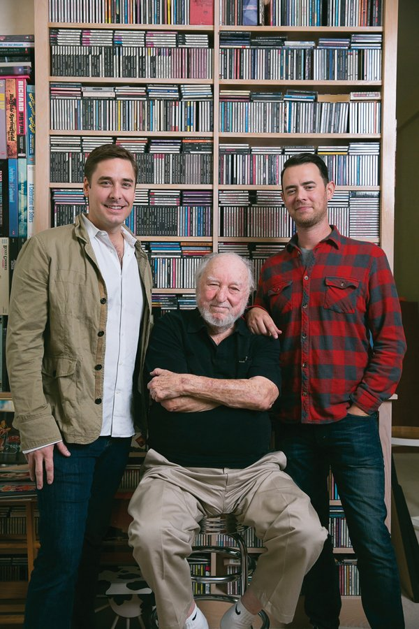 Tower Records founder Russ Solomon (center) at his Sacramento home with filmmakers Colin Hanks (right) and Sean Stuart on Oct. 24, 2014 - the last day of production on 'All Things Must Pass.' (Portrait by Marc Thomas Kallweit)