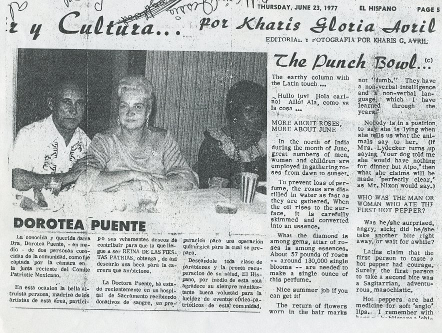A local Spanish-language newspaper that referred to Puente as la doctora (Courtesy of John Cabrera)