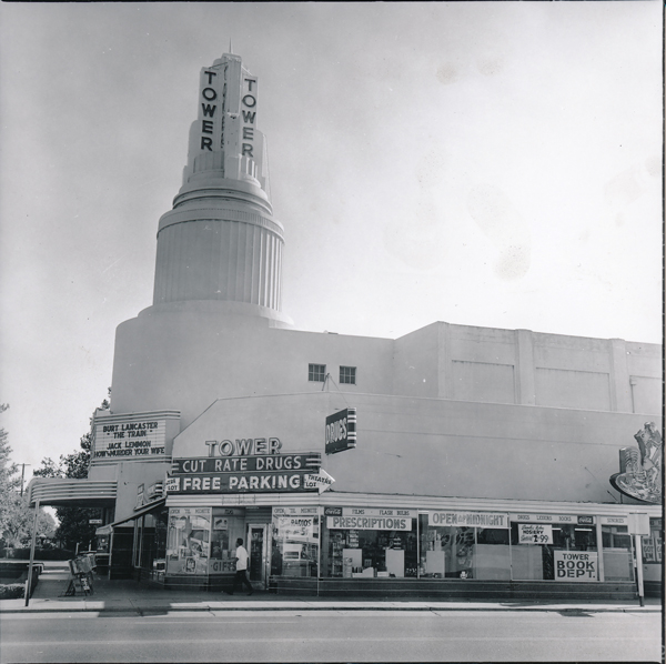Russ Solomon sold his first record out of his father's drugstore on the ground floor of the Tower Theatre complex, pictured here in 1965. (Photo courtesy of Sean Stuart)