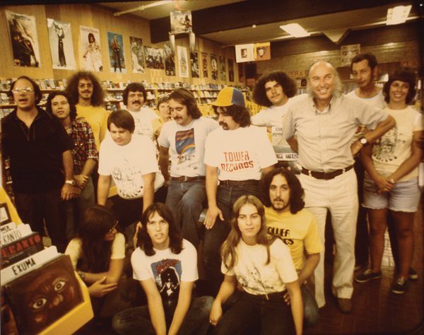 Russ Solomon (third from right) with the crew of Tower Records' Stockton store on opening day in 1974 (Photo courtesy of Sean Stuart)