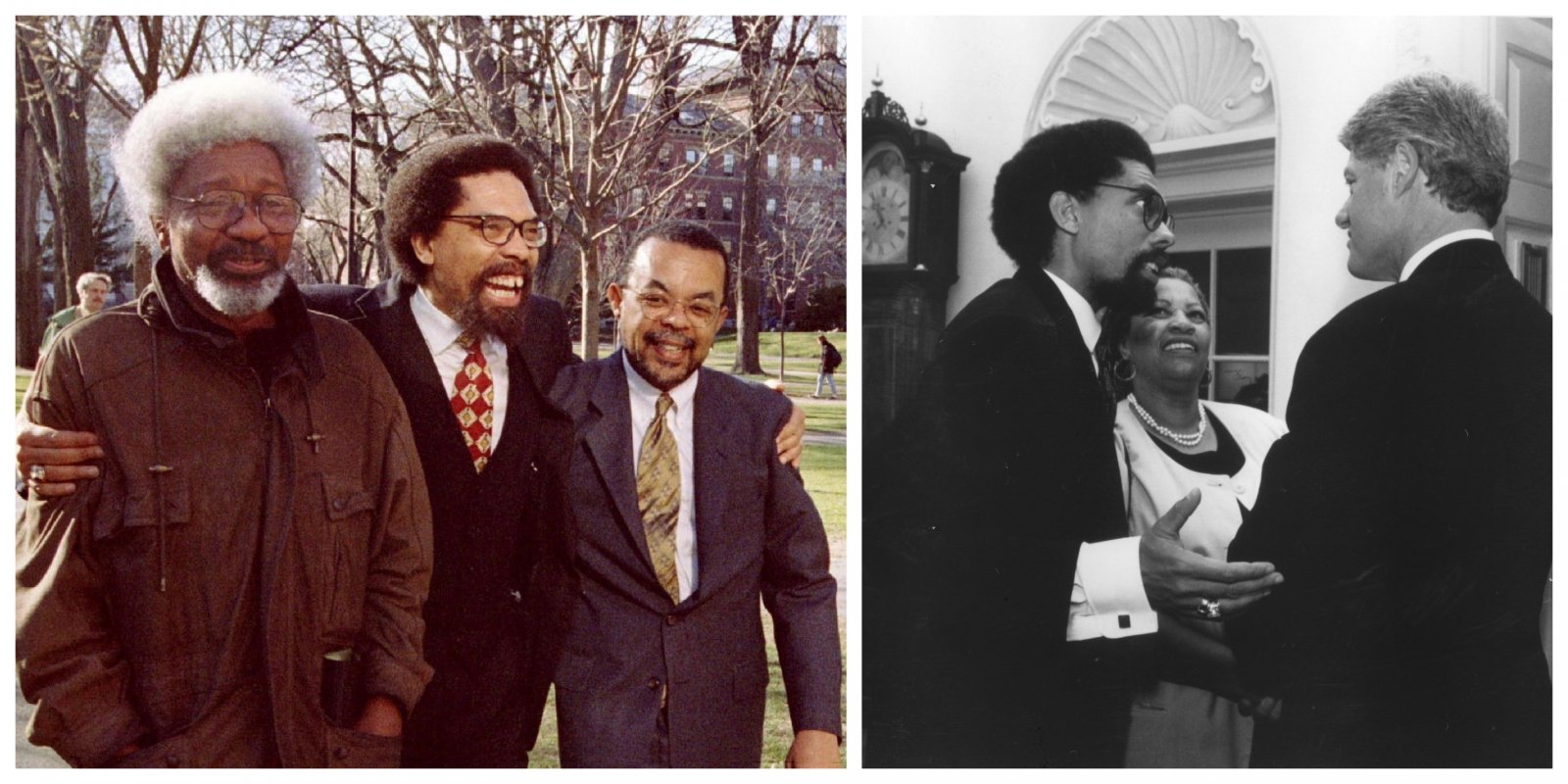 (Left) West with Nobel Prize-winning writer Wole Soyink(left) and Henry Louis Gates Jr. at Harvard in 1997; (right) with President Bill Clinton and Toni Morrison at the White House in 1993. (Gates by Brian Synder/Reuters. Clinton courtesy of the West family).