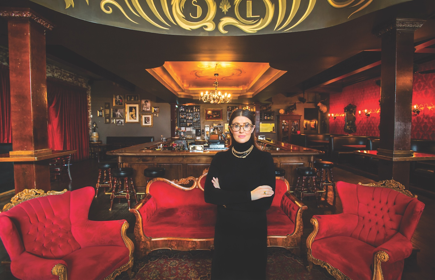 Interior designer Whitney Johnson at Shady Lady, her first restaurant project, which was completed in 2009 (Portrait by Jeremy Sykes)