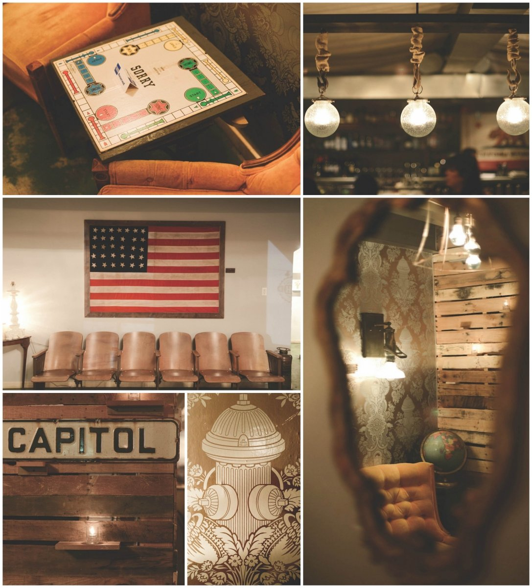 """It's very warm with a lot of low lighting. The idea was to create an environment where [it felt as if] you were walking into someone's home,"" says Johnson of the design concept for Hook & Ladder. Clockwise from top left: Board games like Sorry serve as tabletops in the restaurant's ""game room""; upcycled ceiling lights crafted from winch hooks softly illuminate the main dining room; the ""game room"" alcove features a light fixture made from an antique fire-hose nozzle, which references the restaurant's namesake, the Mutual Hook and Ladder Company, an all-volunteer group that formed in 1850 and became Sacramento's first fire corps; Johnson selected wallpaper with images of fire hydrants for the game room; a local street sign that Johnson found at the Antique Trove in Roseville hangs against a wall constructed from shipping pallets; a commissioned American flag with 31 stars to symbolize California's birth order in the Union decorates the waiting area (Photos by Ryan Donahue)"