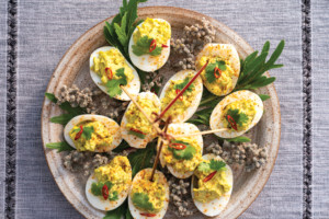 Spicy Avocado Deviled Eggs