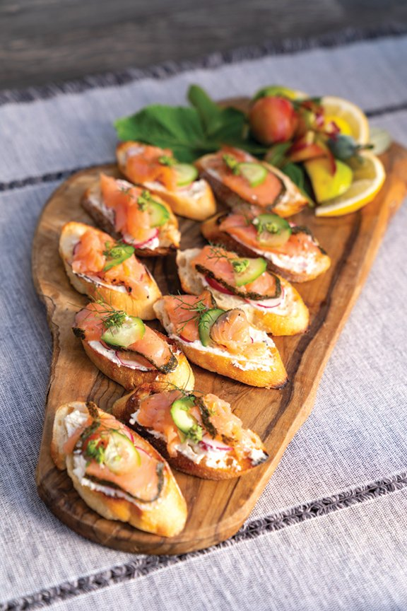 Smoked Salmon & Herb Cream-Cheese Crostini