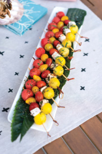 Vine-Ripe Cherry Tomato, Watermelon, Feta & Mint Skewers with Balsamic Glaze