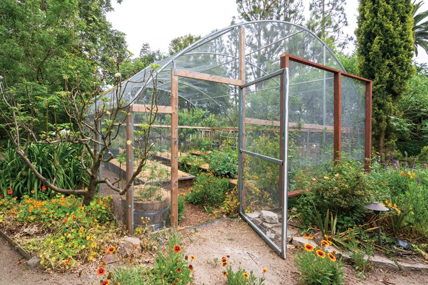 mesh-covered hoop house