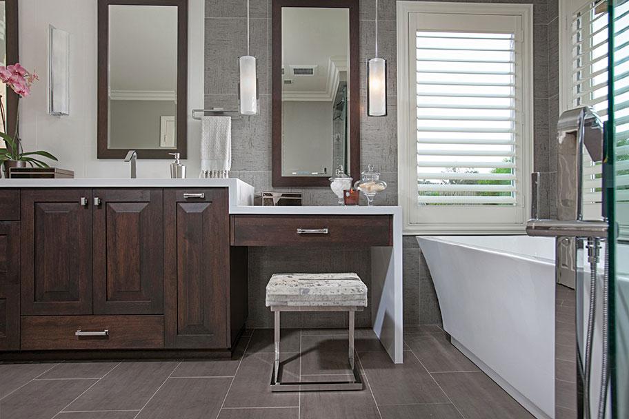 waterfall countertops bathroom vanity