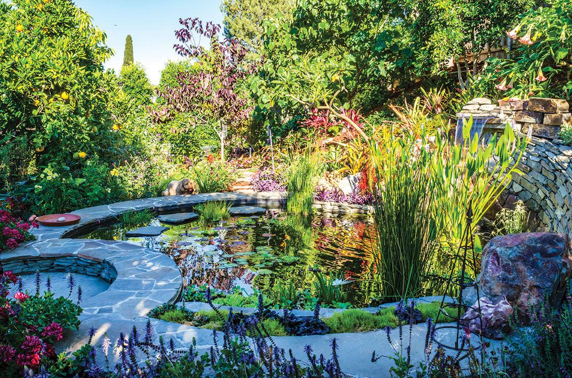 circular water feature in sanctuary garden
