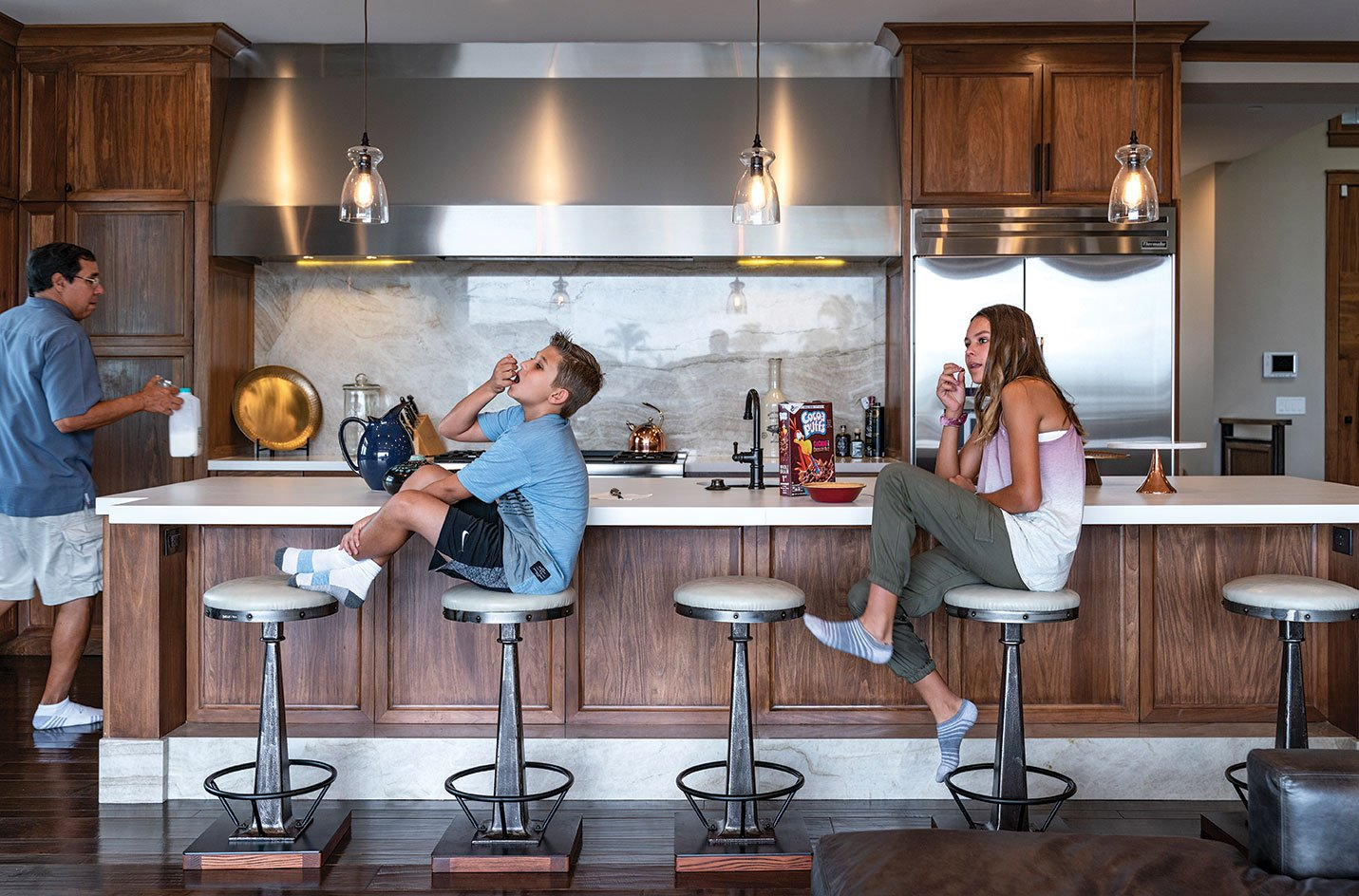Kitchen island in La Jolla coastal family-friendly remodel