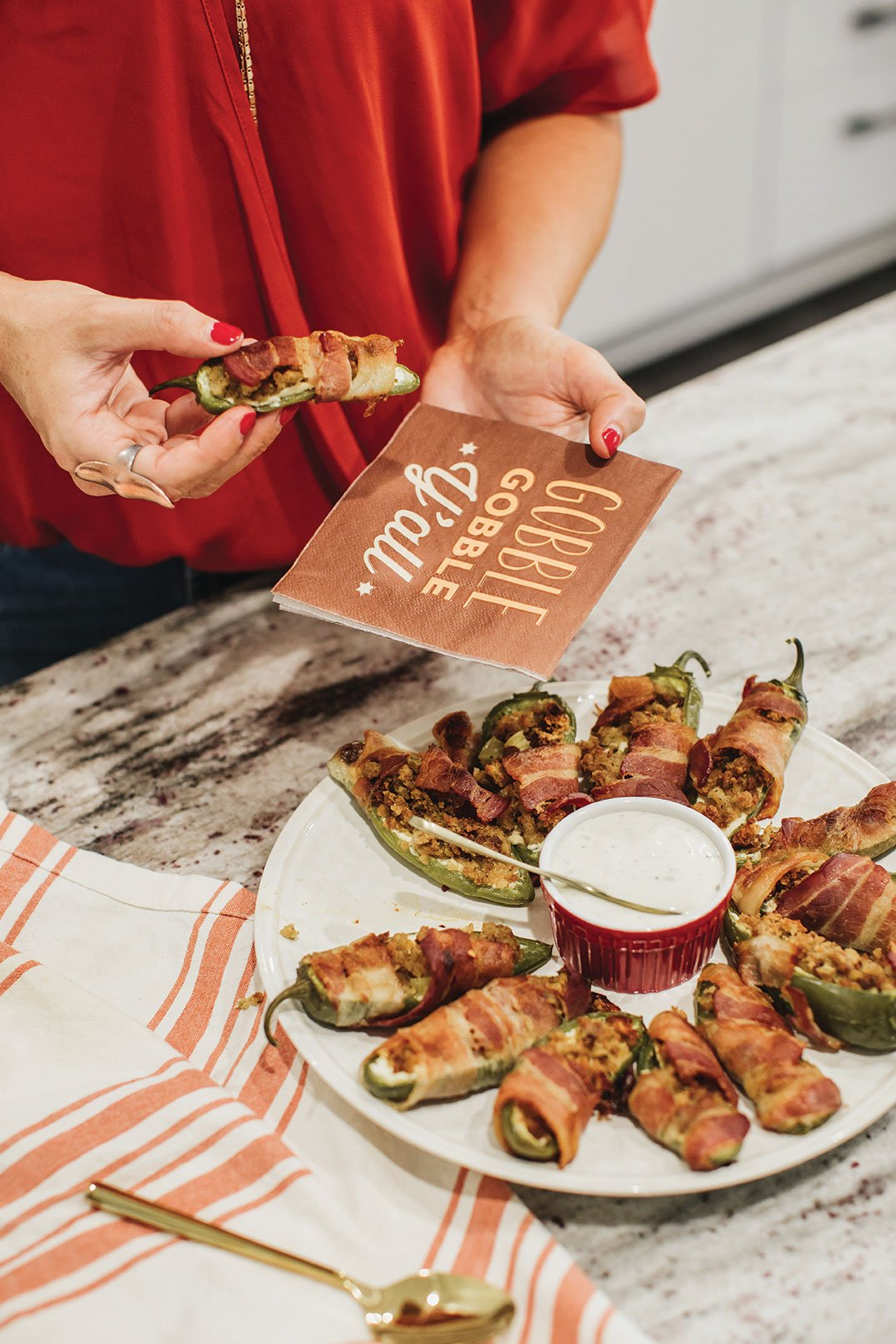 leftover Thanksgiving stuffing recipe cream cheese stuffing jalapeno poppers