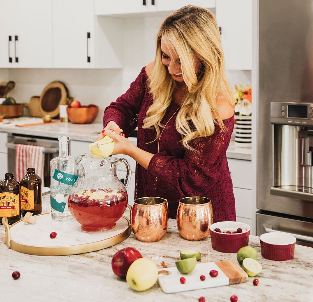 Whitney Bond's Cranberry Apple Moscow Mule Punch holiday cocktail
