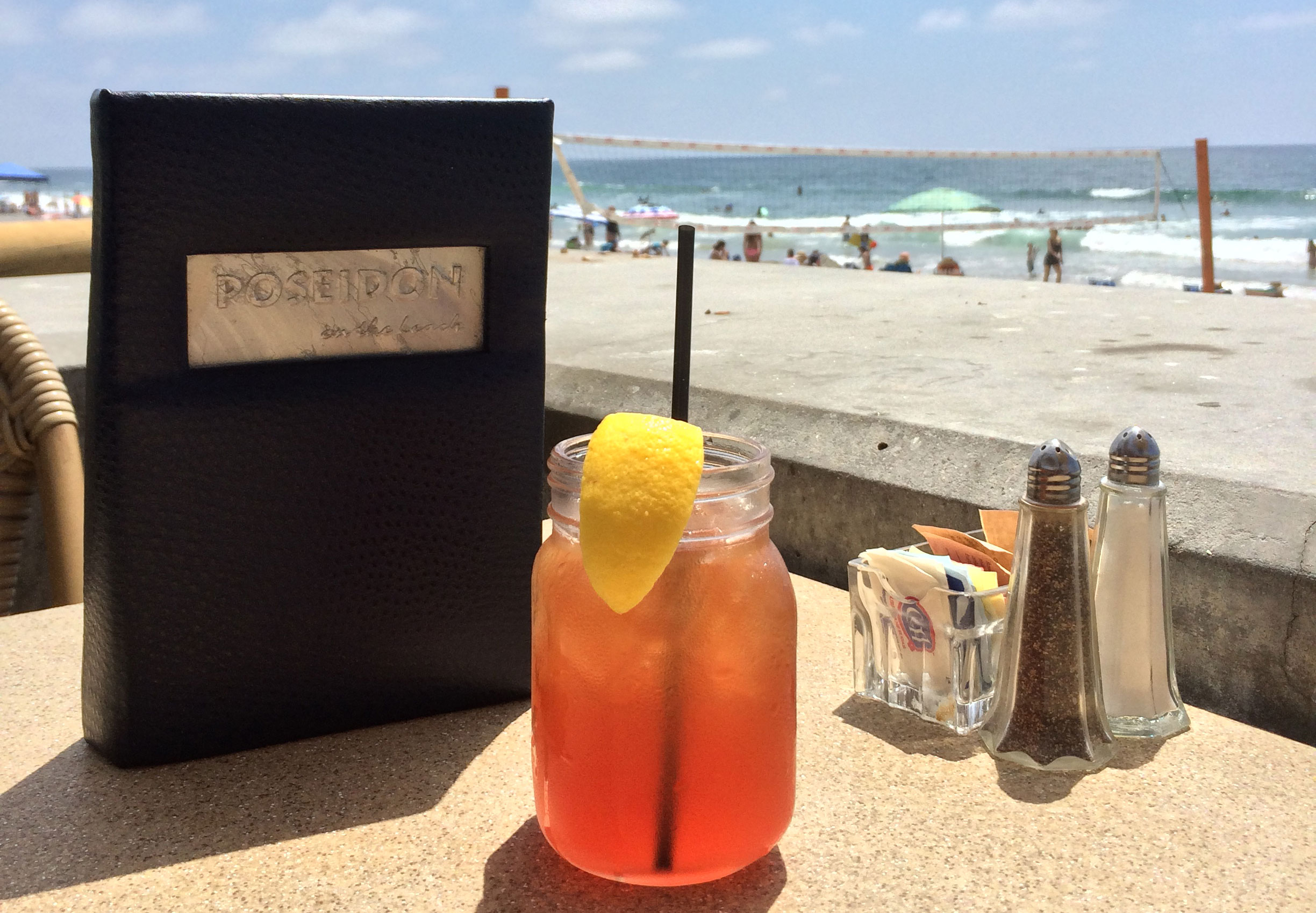 San Diego Chef Deborah Scott dines at San Diego restaurant Poseidon for lunch on the beach