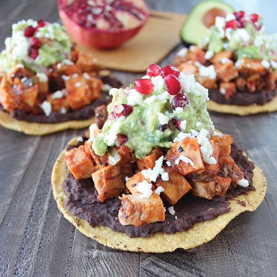 Whitney Bond's Turkey Tostadas with Pomegranate Guacamole